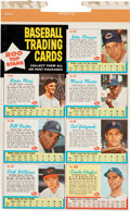 Baseball Cards:Lots, 1962 Post Baseball Complete Cereal Box Panel With Seven Ca...