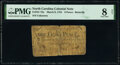 Colonial Notes:North Carolina, North Carolina March 9, 1754 8d Butterfly PMG Very Good 8 Net.. ...