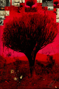 Raphael Mazzucco (b. 1965) Red Tree, 2018 Archival pigment print, acrylic paint, ink, encased in resin 60 x 40-1/4 in