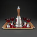 Other, A Married Eight-Piece Chrome-Plated Bell-Form Cocktail Set with Tray, mid-20th century . 11-1/4 x 6-1/8 inches (28....