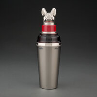 A German Enameled Metal Cocktail Shaker with French Bull Dog Finial, 20th century Marks: GERMANY 11-3/4 inches (29.8