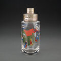Glass, A Hand-Painted Glass Cocktail Shaker Possibly by John Held Jr., 20th century . 9 x 3-1/4 inches (22.9 x 8.3 cm). ...