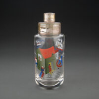 A Hand-Painted Glass Cocktail Shaker Possibly by John Held Jr., 20th century 9 x 3-1/4 inches (22.9 x 8.3 cm)