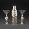Silver & Vertu, A Three-Piece Towle Silversmiths Silver-Plated Penguin-For...