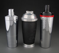 Three Large American Art Deco Cocktail Shakers, mid 20th century Marks to one: THE AMERICAN THERMOS BOTTLE CO,... (Total...