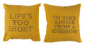 Collectible, Banksy X Gross Domestic Product. Banksy Cushions (set of 2), 2019. Fabric cushions with hand-stenciled lettering by the ... (Total: 2 Items)