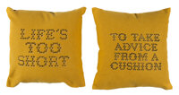 Banksy X Gross Domestic Product Banksy Cushions (set of 2), 2019 Fabric cushions with hand-stenciled lettering by the...