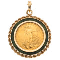 Estate Jewelry:Pendants and Lockets, Gold Coin, Green Hardstone, Gold Pendant. ...