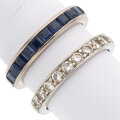 Estate Jewelry:Rings, Diamond, Sapphire, Platinum, White Gold Eternity Bands. ... (Total: 2 Items)