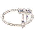 Estate Jewelry:Brooches - Pins, Diamond, Synthetic Sapphire, Platinum, White Gold Brooch . ...