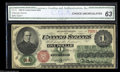 Fr. 16 $1 1862 Legal Tender CGA Choice New 63. Tight across the bottom, but with great color, good back centering and ex...