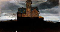 """Addams Family Values Matte Painting of """"Addams House as Guests Arrive"""" (Paramount, 1993)"""