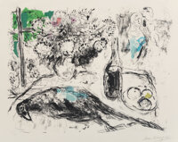 Marc Chagall (1887-1985) Le Faisan, 1966 Lithograph in colors on Arches paper 23 x 29-3/4 inches (58.4 x 75.6 cm) (sh