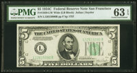 Fr. 1959-L $5 1934C Wide Federal Reserve Note. PMG Choice Uncirculated 63 EPQ