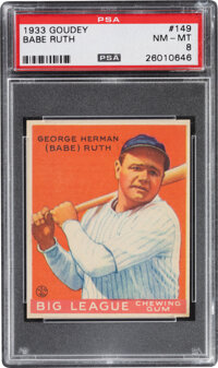 1933 Goudey Babe Ruth #149 PSA NM-MT 8--Only Two Superior!