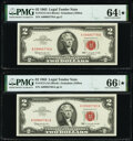 Small Size:Legal Tender Notes, Fr. 1513 $2 1963 Legal Tender Note. PMG Gem Uncirculated 66 EPQ★ (2); Choice Uncirculated 64 EPQ★ .. ... (Total: 3 notes)