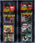 Baseball Cards:Unopened Packs/Display Boxes, 1985 Donruss Rack Packs Lot of 2- Puckett and Clemens Top Cards. ...