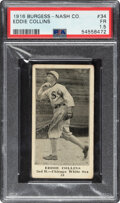 Baseball Cards:Singles (Pre-1930), 1916 Burgess-Nash Co. Eddie Collins #34 PSA Fair 1.5 - The Only PSA Graded Example!...