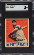 Baseball Cards:Singles (1940-1949), 1948-49 Leaf Ted Williams #76 SGC VG 3. As one of ...