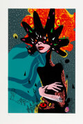 Prints & Multiples, Miss Bugs (21st Century). Her, Brain Thinks Bomb Like (Blue), 2016. Screenprint in colors with stencil and hand-embellis...