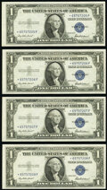 Small Size:Silver Certificates, Fr. 1615* $1 1935F Silver Certificate Stars. Four Consecut...