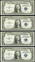 Small Size:Silver Certificates, Fr. 1614 $1 1935E Silver Certificate Stars. Four Examples....