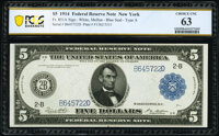 Fr. 851a $5 1914 Federal Reserve Note PCGS Banknote Choice Unc 63