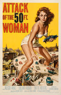 """Movie Posters:Science Fiction, Attack of the 50 Foot Woman (Allied Artists, 1958). Very Fine on Linen. One Sheet (26.75"""" X 41.25"""") Reynold Brown Artwork.. ..."""