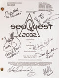 Movie/TV Memorabilia:Autographs and Signed Items, Anson Williams Personal Cast Signed Script for SeaQuest (Universal TV, 1993-1996). ...