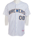 Movie/TV Memorabilia:Costumes, Anson Williams Personal Milwaukee Brewers Jersey Worn When He Performed the National Anthem (2008). ...