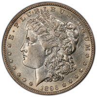 1895-O $1 AU55 PCGS. PCGS Population: (697/686 and 1/24+). NGC Census: (644/833 and 0/16+). CDN: $1,600 Whsle. Bid for N...