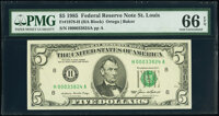 Fr. 1978-H $5 1985 Federal Reserve Notes. H-A and H-B Blocks. PMG Gem Uncirculated 66 EPQ. ... (Total: 2 notes)