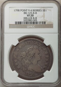Early Dollars, 1798 $1 Large Eagle, Pointed 9, Four Berries, B-8, BB-125, R.2, VF20 NGC. NGC Census: (3/23). PCGS Population: (2/20). VF20...