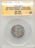 1652 Pine Tree Shilling, Small Planchet -- Scratched -- ANACS. XF40 Details. Noe-19, W-850, Salmon 5-B, R.5. From The...