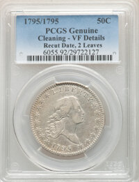 1795/1795 50C 2 Leaves, O-112, T-20, R.4 -- Cleaning -- PCGS Genuine. VF Details. From The Kessler Family Collection...