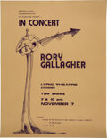 Music Memorabilia:Posters, Rory Gallagher 1974 Lyric Theater Concert Poster....