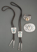 American Indian Art:Jewelry and Silverwork, Four Zuni Jewelry Items... (Total: 4 )