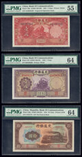 World Currency, China Bank of Communications 1 (2); 10 Yuan 1931; 1935; 1941 Pick 148c; 153; 159a Three Examples PMG About Uncirculated 55... (Total: 3 notes)