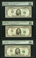 Small Size:Federal Reserve Notes, Fr. 1974-B; C; D* $5 1977 Federal Reserve Notes. PMG Graded Gem Uncirculated 65 EPQ; Gem Uncirculated 66 EPQ (2).. ... (Total: 3 notes)