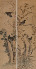 Works on Paper, Wang Chen (Chinese, 1720-1797). Two works on Birds and Flowers. Ink and color on paper. 52-1/2 x 12-1/2 inches (133.4 x ... (Total: 2 Items)