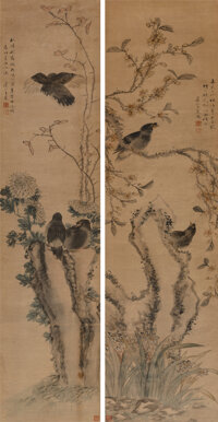 Wang Chen (Chinese, 1720-1797) Two works on Birds and Flowers Ink and color on paper 52-1/2 x 12-... (Total: 2)