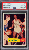 Basketball Cards:Singles (1980-Now), 1957 Topps Bill Russell #77 PSA EX-MT 6. After lea...