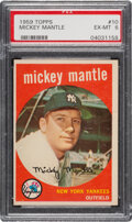 Baseball Cards:Singles (1950-1959), 1959 Topps Mickey Mantle #10 PSA EX-MT 6. Offered ...