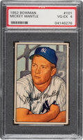 Baseball Cards:Singles (1950-1959), 1952 Bowman Mickey Mantle #101 PSA VG-EX 4. Offere...