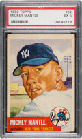 Baseball Cards:Singles (1950-1959), 1953 Topps Mickey Mantle #82 PSA EX 5. One of the ...