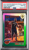 Basketball Cards:Singles (1980-Now), 2019 Hoops Premium Stock Zion Williamson (Green Prizm) #29...