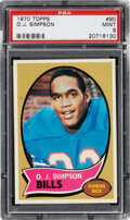 Football Cards:Singles (1970-Now), 1970 Topps O.J. Simpson #90 PSA Mint 9 - Only One Higher.