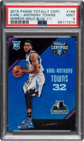 Basketball Cards:Singles (1980-Now), 2015 Panini Totally Certified Karl-Anthony Towns (Mirror Holo Blue) #168 PSA Mint 9 - #'d 1/1!...