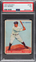 Baseball Cards:Singles (1930-1939), 1933 Goudey Lou Gehrig #160 PSA VG 3. Here's a cha...