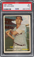 Baseball Cards:Singles (1950-1959), 1957 Topps Ted Williams #1 PSA NM 7. How do you no...